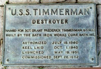 USS Timmerman Marker image. Click for full size.