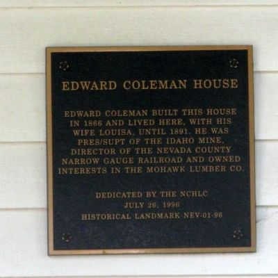 Edward Coleman House Marker image. Click for full size.