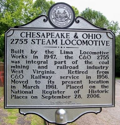 Chesapeake & Ohio - 2755 Steam Locomotive Marker image. Click for full size.