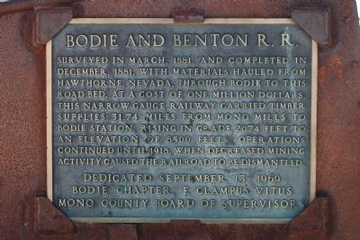 Bodie and Benton R. R. Marker image. Click for full size.