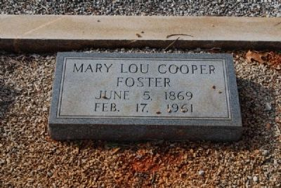 Mary Lou Cooper Foster Tombstone image. Click for full size.