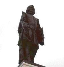 Samuel de Champlain Monument - close up of statue by Paul Chevré image. Click for full size.