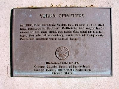 Yorba Cemetery Marker image. Click for full size.
