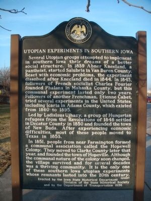 Utopian Experiments in Southern Iowa Marker image. Click for full size.