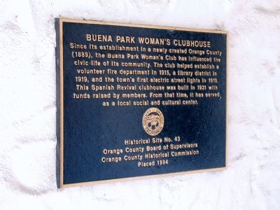 Buena Park Woman's Clubhouse Marker image. Click for full size.