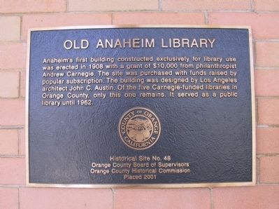 Old Anaheim Library Marker image. Click for full size.