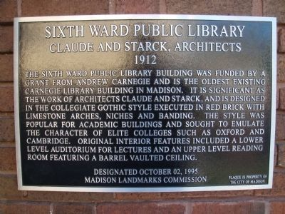 Sixth Ward Public Library Marker image. Click for full size.