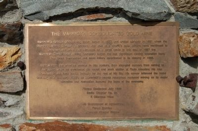 The Mammoth Consolidate Gold Mine Marker image. Click for full size.