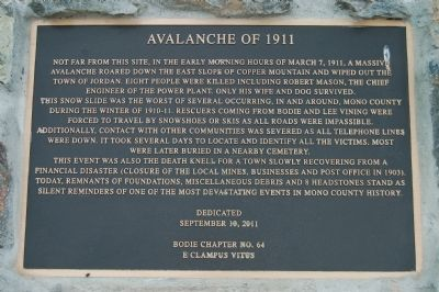 Avalanche of 1911 Marker image. Click for full size.