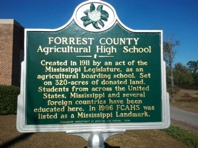 Forrest County Agricultural High School Marker image. Click for full size.