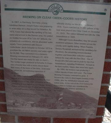 Brewing on Clear Creek-Coors History Marker image. Click for full size.