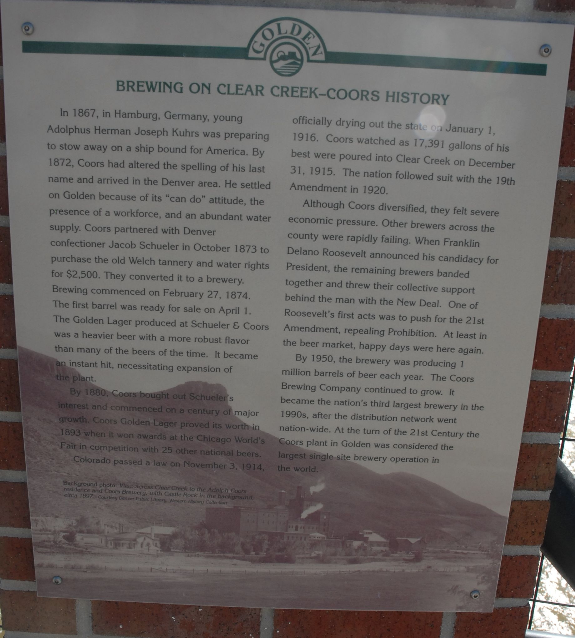 Brewing on Clear Creek-Coors History Marker