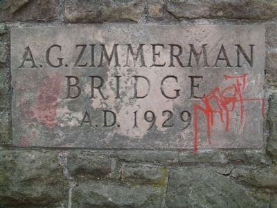 A.G. Zimmerman Bridge Name Stone image. Click for full size.