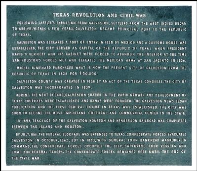 [Galveston During the] Texas Revolution and Civil War Marker image. Click for full size.