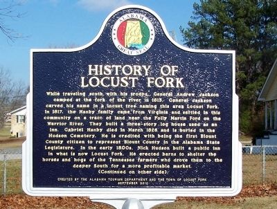 History of Locust Fork Marker, side A image. Click for full size.