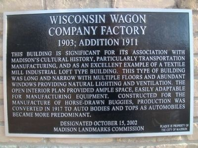 Wisconsin Wagon Company Factory Marker image. Click for full size.