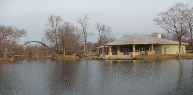 Tenney Park Pavilion and Steel Bridge image. Click for full size.