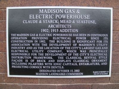 Madison Gas & Electric Company Powerhouse Marker image. Click for full size.