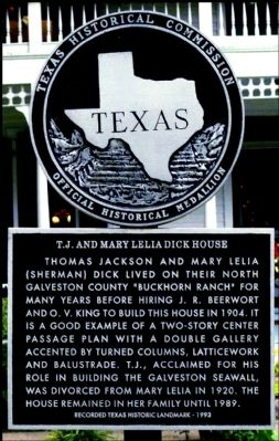 T. J. and Mary Lelia Dick House Marker image. Click for full size.
