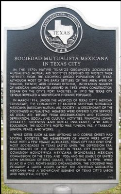 Sociedad Mutualista Mexicana in Texas City Marker image. Click for full size.