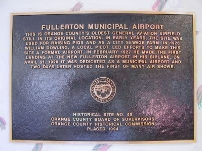 Fullerton Municipal Airport Marker image. Click for full size.