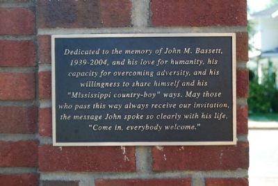 John M. Bassett Memorial Plaque<br>Located on Reverse Side of Church Sign image. Click for full size.