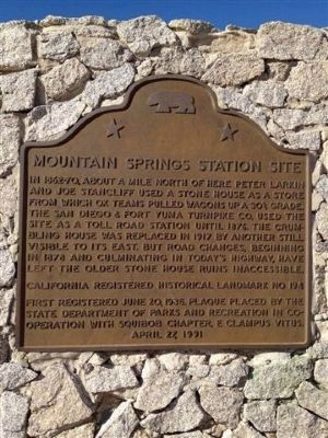 Mountain Springs Station Site Marker image. Click for full size.