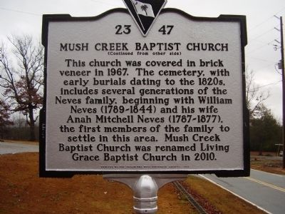 Mush Creek Baptist Church Marker image. Click for full size.