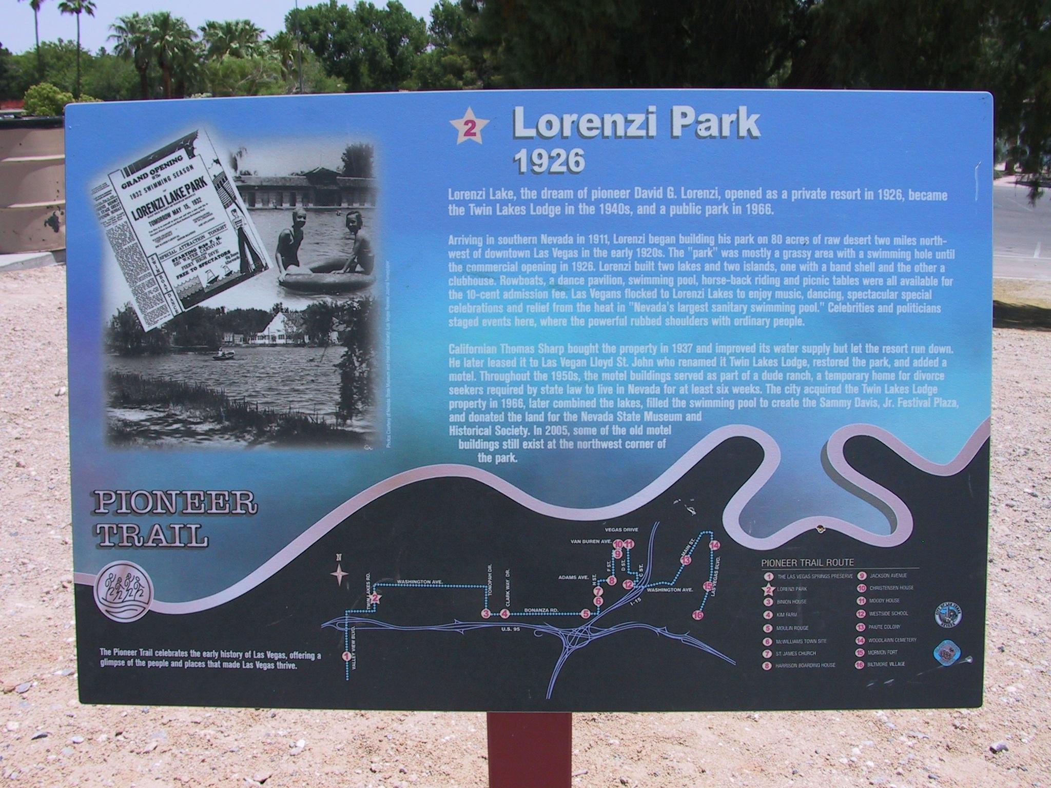 Lorenzi Park Marker