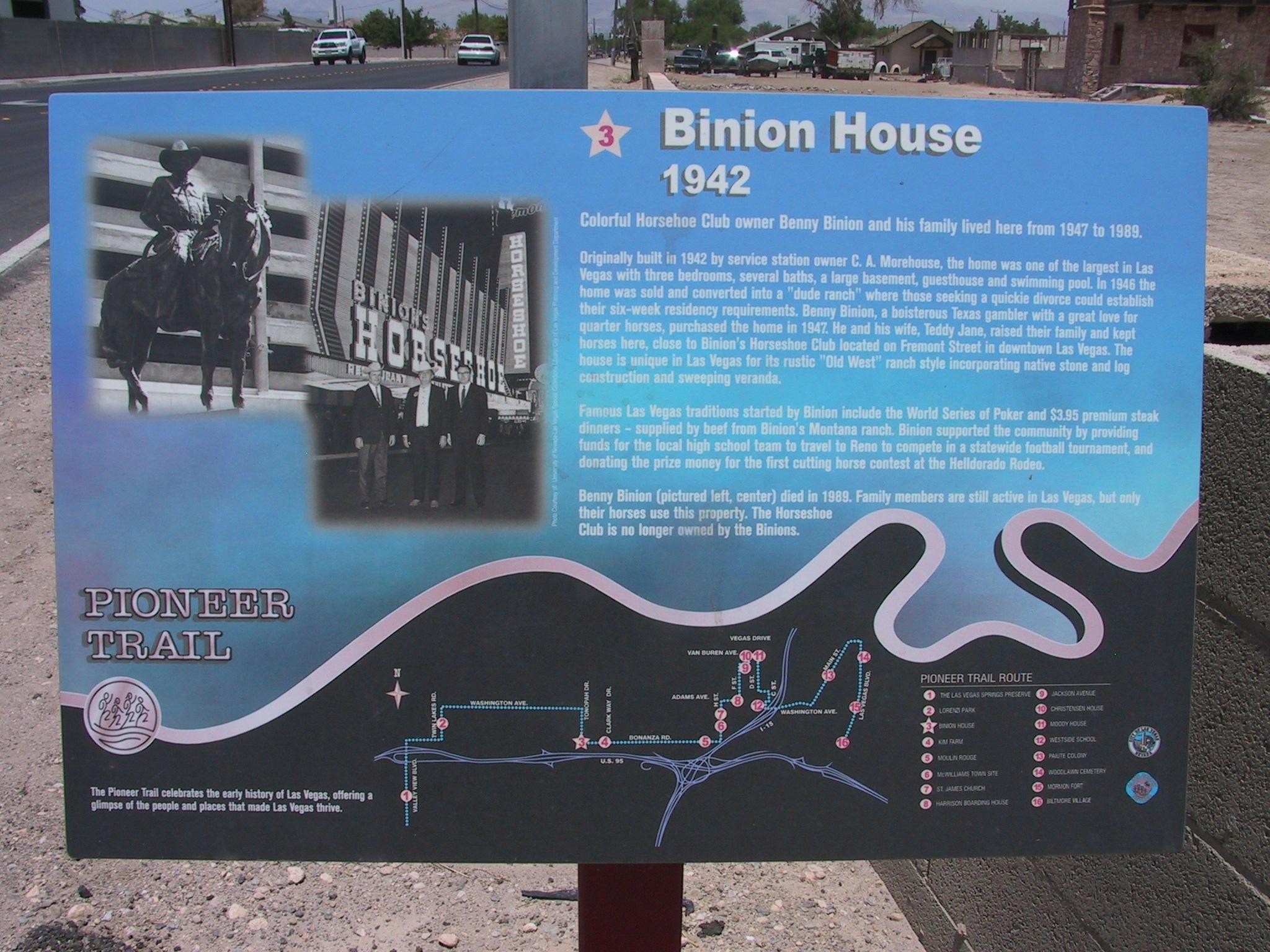 Binion House Marker