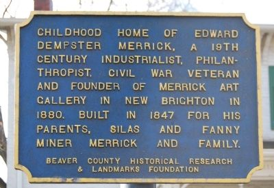 Childhood Home of Edward Dempster Merrick Marker image. Click for full size.