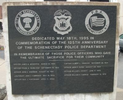 Schenectady Police Department Marker image. Click for full size.