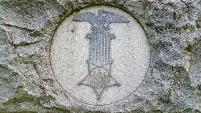 G.A.R. Emblem on Civil War Memorial image. Click for full size.
