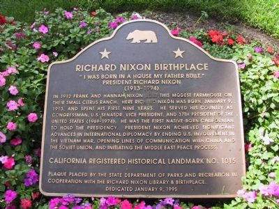 Richard Nixon Birthplace Marker image. Click for full size.