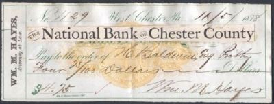 1878, Bank of Chester County - Check image. Click for full size.