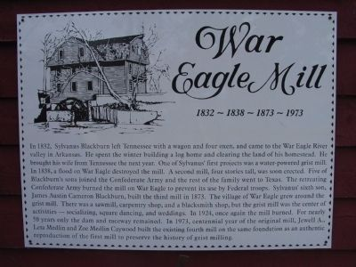 War Eagle Mill Marker image. Click for full size.