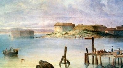<i>Fort Scammel and Fort Gorges, Maine</i> Painting on Looking North Marker image. Click for full size.