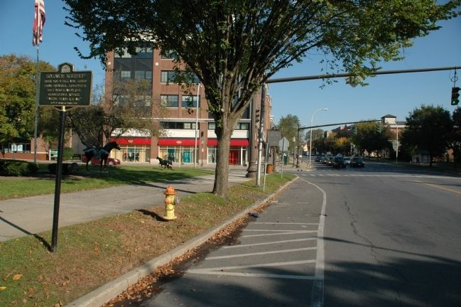 Solomon Northup Marker - Looking North Along Broadway image. Click for full size.