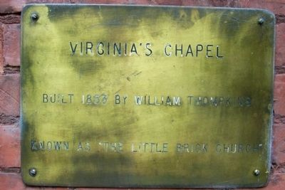 Plaque next to front door of Historic Church - Virginia's Chapel image. Click for full size.