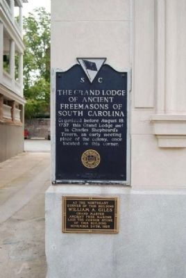 The Grand Lodge of Ancient Freemasons of South Carolina Marker image. Click for full size.