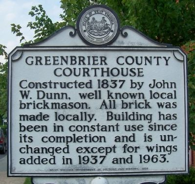 Greenbrier County Courthouse Marker image. Click for full size.