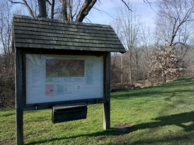Okehocking Preserve Information Sign in front of Ridley Creek image. Click for full size.
