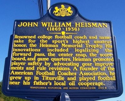 John William Heisman Marker image. Click for full size.