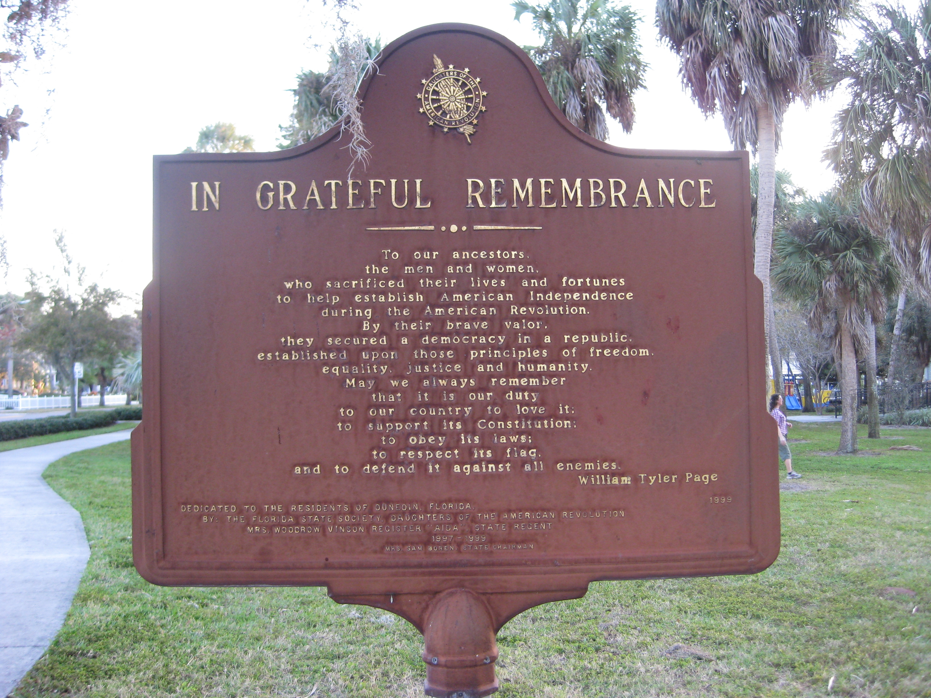 In Grateful Remembrance Marker