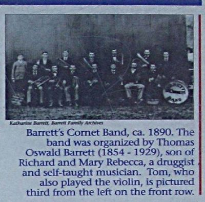 Far left picture - Barrett's Cornet Band, ca. 1890 ... image. Click for full size.