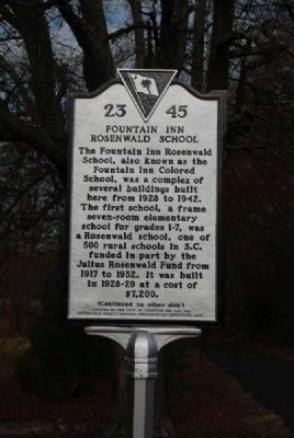 Fountain Inn Rosenwald School Marker<br>Front image. Click for full size.