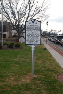 Simpsonville Marker<br>Front image. Click for full size.