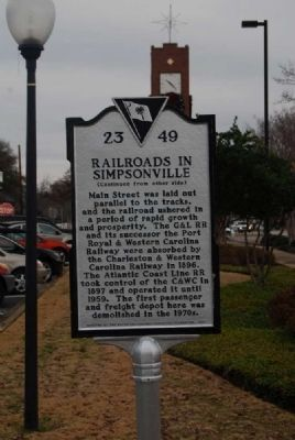 Railroads in Simpsonville Marker image. Click for full size.