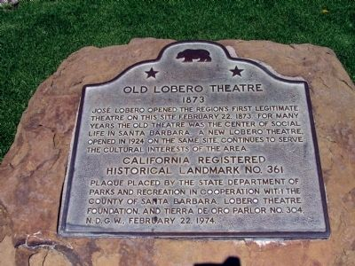 Old Lobero Theatre Marker image. Click for full size.