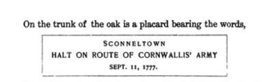 Original marker on the Ancient Sconnelltown Oak Tree image. Click for full size.